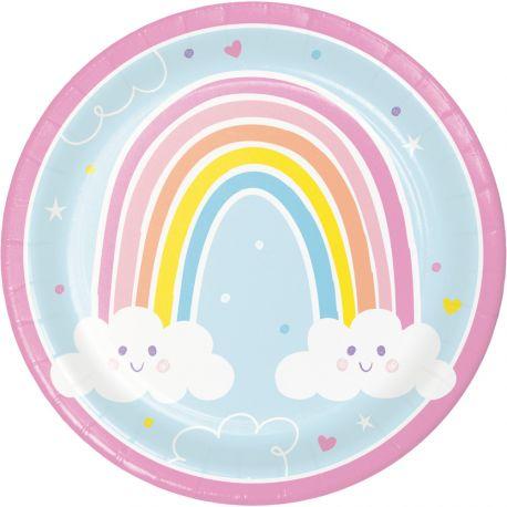 8 Happy Rainbow Karton Teller ideal für eine schöne GeburtstagstischdekorationAbmessungen: Ø 23 cm