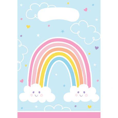 8 Happy Rainbow-Papiertaschen ideal für eine schöne GeburtstagstischdekorationAbmessungen: 16 x 23 cm