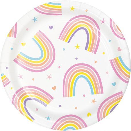 8 kleine Pappteller Happy rainbow ideal für eine schöne GeburtstagstischdekorationAbmessungen: Ø18cm
