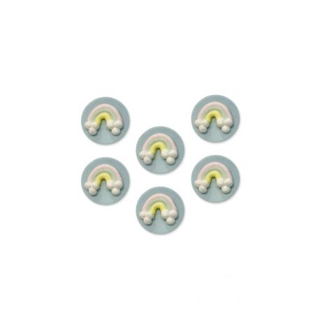 6 Dekorationen aus Regenzucker ideal für eine schöne GeburtstagstischdekorationAbmessungen: Ø3cm