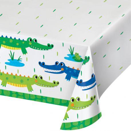 Tischtuch aus Alligator-Papier-Party, um einen schönen Geburtstagstisch zu dekorierenAbmessungen: 137 x 259cm