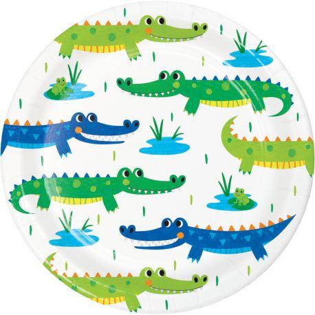 8 kleine Alligator-Party Teller, um einen schönen Geburtstagstisch zu dekorierenAbmessungen: Ø18cm