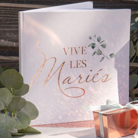 Goldbuch Dekoration Laub mit Druck Vive les mariés métallisé gold rose für eine idyllische HochzeitAbmessungen: 24 x 24cm
