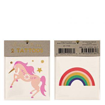 Einhorn-Tattoo und regenbogen