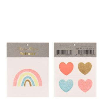 Herz-Tattoo und regenbogen Glitzer