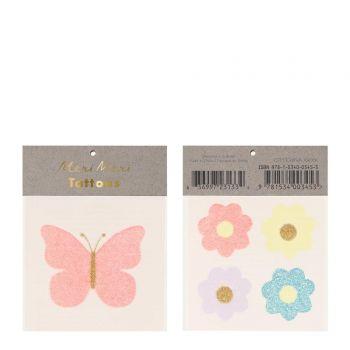 Tattoo Schmetterlinge und Glitzerblumen