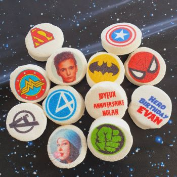48 Guimize runden personnalisiert Text Dekoration Superhelden
