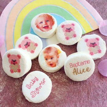 48 Guimize runden personnalisiert Foto Dekoration Bär rosa
