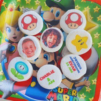 48 Guimize Runde personnalisiert Text Dekoration Mario