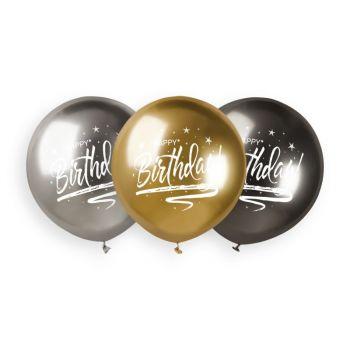 3 Luftballon shiny metallic Happy Birthday Ø48cm