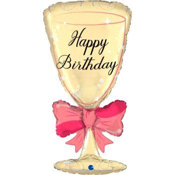 Luftballon Helium Glas mit Happy Birthday Knoten