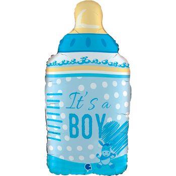 Luftballon babyflasche blau