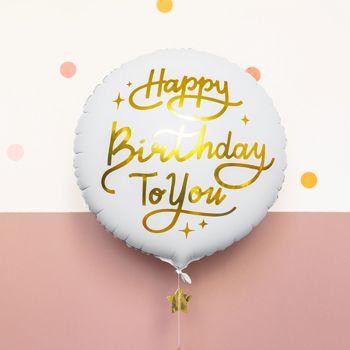 Luftballon hellium Happy Birthday gold