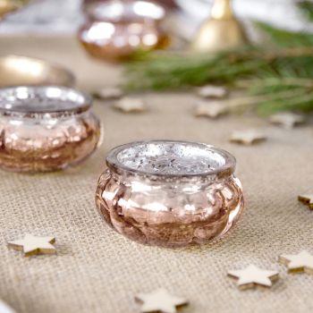 4 Kerzenhalter gold rund rosa