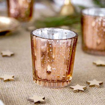 4 Kerzenhalter gold geifft rosa