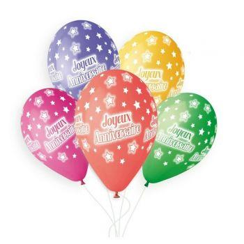5 Luftballon Bio Happy Birthday color Ø33cm