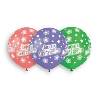 3 Luftballon Bio Happy Birthday color Ø48cm