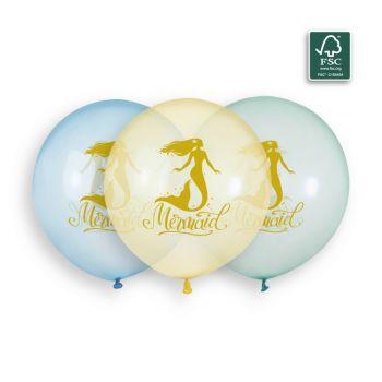 3 Luftballon Meerene Pastellkristall Ø48cm