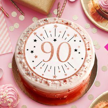 Tortenaufleger90 Jahre gold rosa