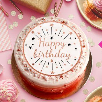 Happy birthday Gold Scheiben Zucker
