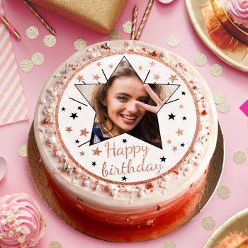 Zucker-Platte für Kuchen personnalisiert Happy Birthday gold rosa