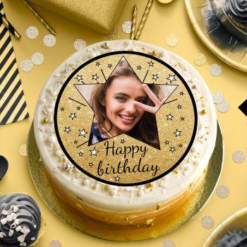 Zucker-Platte für Kuchen personnalisiert Happy Birthday schwarz