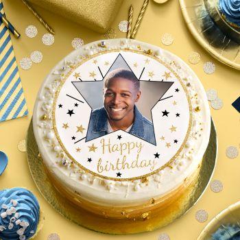 Zucker-Platte für Kuchen personnalisiert Happy Birthday Gold