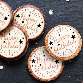12 Mini tortenaufleger Happy Birthday gold rosa