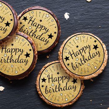 12 Mini tortenaufleger Happy Birthday schwarz