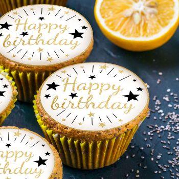 12 Mini tortenaufleger Happy Birthday gold