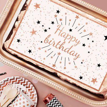 Happy Birthday Gold Gold Gold A3 Zucker dekoriert