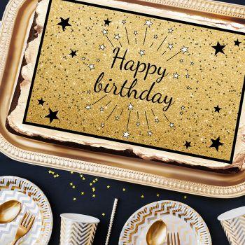 Dekor Happy Birthday Schwarz A3 Zucker