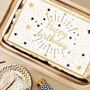 Dekor Zucker Happy Birthday Gold A3