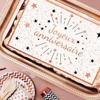 Zucker Dekoration Happy Birthday Gold Rose A3