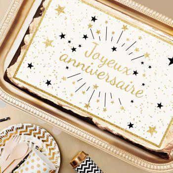 Zucker Dekor Happy Birthday Gold A3