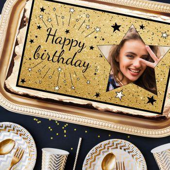 Happy Birthday Schwarz A3 Zucker dekorieren zu personalisieren