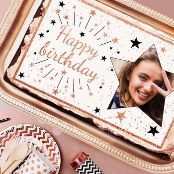 Happy Birthday Rosa Gold A3 Zucker dekorieren zu personalisieren