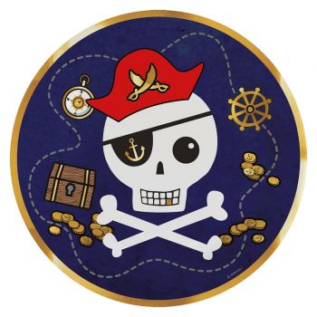 8 Teller Karte Pirate rot