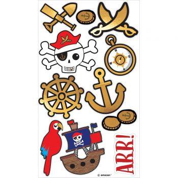 8 Strohhalme Karte Pirate rot