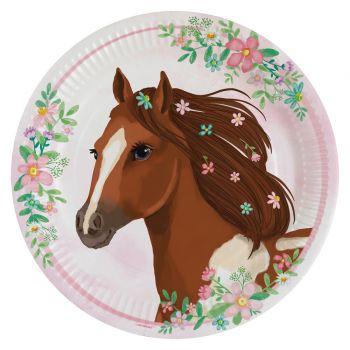 8 Teller Blühendes Pferd