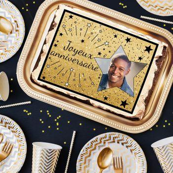 Zucker-Dekor für Kuchen personnalisiert Happy Birthday Black
