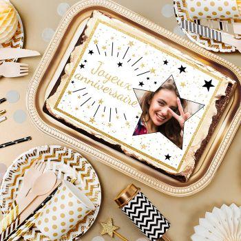 Zucker-Dekor für Kuchen personnalisiert Happy Birthday Gold
