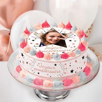 Easycake Kuchen-Kit personnalisiert Happy Birthday pink gold