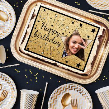 Zucker dekoriert für Kuchen personnalisiert Happy Birthday schwarz