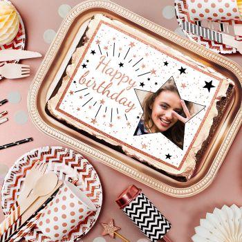 Zucker-Dekor für Kuchen personnalisiert Happy Birthday gold rosa