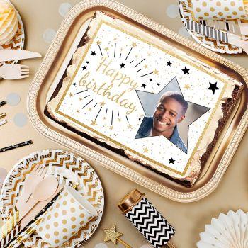 Zucker dekoriert für Kuchen personnalisiert Happy Birthday Gold