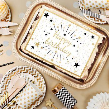 Dekor Happy Birthday Gold A4 Zucker