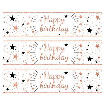 3 Bänder mit Kuchen Zucker Dekor Happy Birthday gold rosa