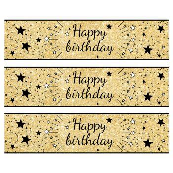 3 Kuchen Bänder Zucker Dekor Happy Birthday schwarz