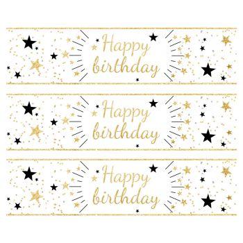 3 Bänder mit Kuchen Zucker Dekoration Happy Birthday Gold